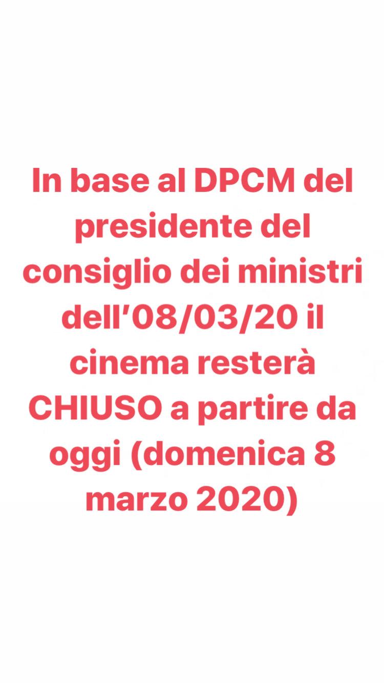 CHIUSURA CINEMA PER COVID-19