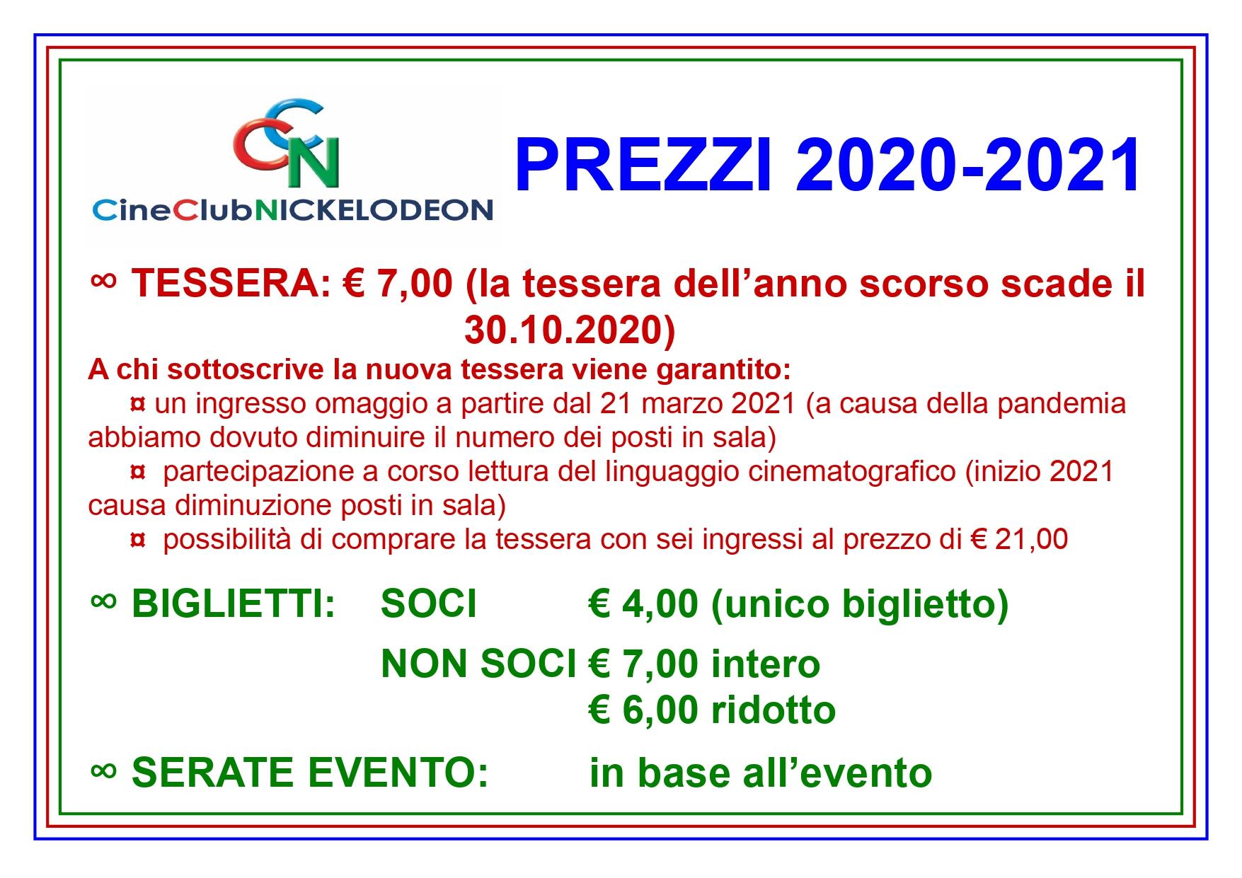 LISTINO CINECLUB NICKELODEON 2020/2021